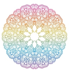 Round rainbow mandala background vector image