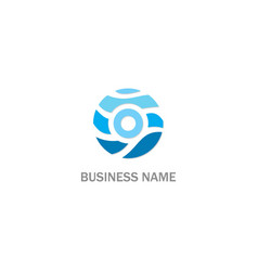 round water wave technology logo vector image