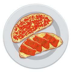 Sandwiches with red caviar vector