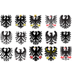 set of heraldic black eagles vector image
