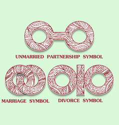 Set of symbols of partnership unmarried divorce vector