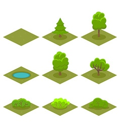Set of Trees and Bushes Isometric Style for Game vector