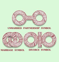 Set symbols partnership unmarried divorce vector