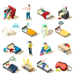 Sleep disorder isometric icons vector