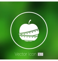 Slimming apple icon slim weight diet vector image