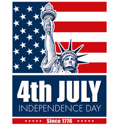 statue of liberty usa flag nyc fourth of july vector image vector image