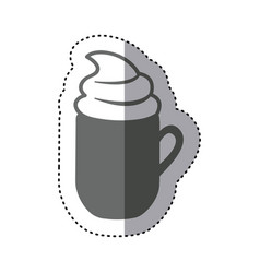 Sticker monochrome silhouette mug of cappuccino vector