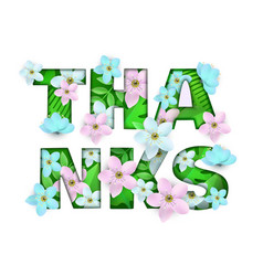 Thanks word floral natural vector