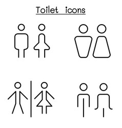 toilet restroom bathroom icon set in thin line vector image