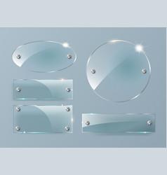Transparent glass plates set square shape vector