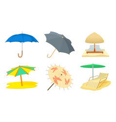 umbrella icon set cartoon style vector image