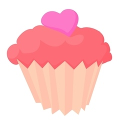 Valentine cupcake icon cartoon style vector
