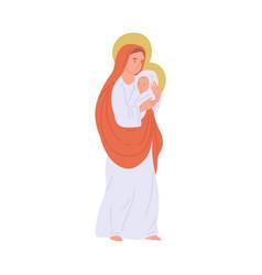 Virgin mary holding god bajesus - cartoon vector