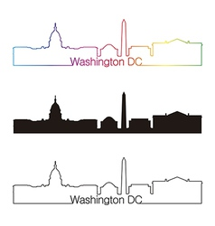 Washington DC skyline linear style with rainbow vector image