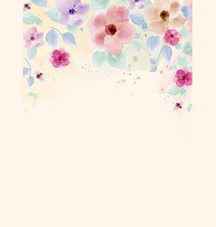 watercolor hand painted with colourful flower and vector image