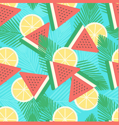 Watermelon and lemon seamless pattern vector