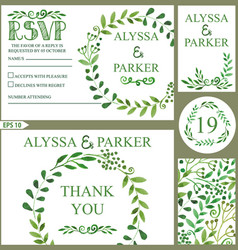 Wedding invitation setwatercolor green branches vector