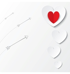White paper hearts Valentines day card with arrows vector image
