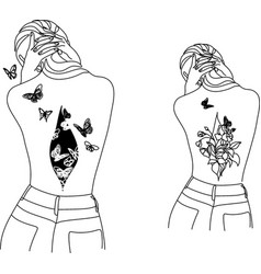 woman line drawing butterfly prints female face vector image