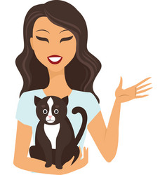 young woman with cat vector image