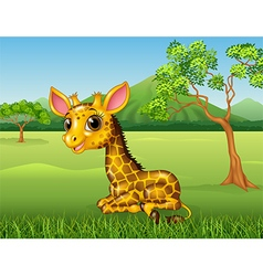 Cartoon funny giraffe sitting in the jungle vector image vector image