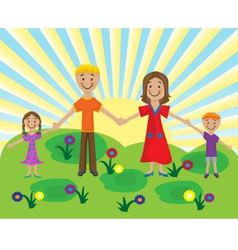 family on the lawn vector image vector image