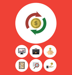 Flat icon incoming set of chart counter hand vector