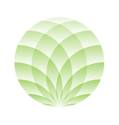 green lotus circle - symbol of yoga wellness vector image