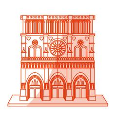 orange silhouette shading cartoon building vector image vector image