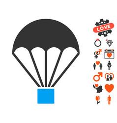 parachute icon with love bonus vector image