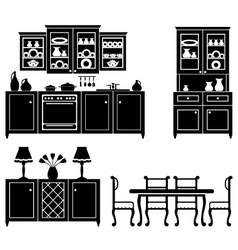 Set of icons of kitchen furniture vector image vector image