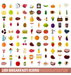100 breakfast icons set flat style vector image vector image