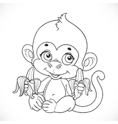 Cute baby monkey with banana outlined isolated on vector image