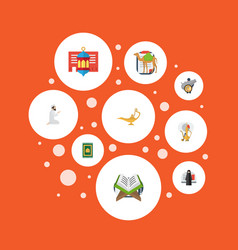 flat icons holy book dromedary genie and other vector image vector image