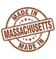 made in massachusetts brown grunge round stamp vector image vector image