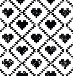 Seamless aztec tribal pattern with hearts - grunge vector image vector image