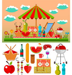 Summer picnic in the meadow vector image