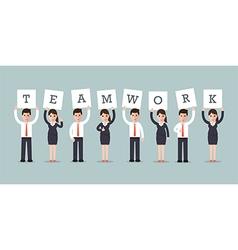 teamwork businessmen and businesswomen vector image