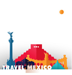 travel mexico country paper cut world monuments vector image vector image