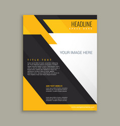 yellow and black business brochure poster vector image
