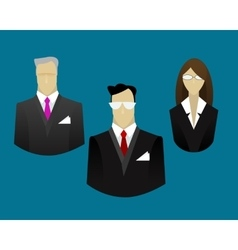 Businessmen and businesswoman icons vector image