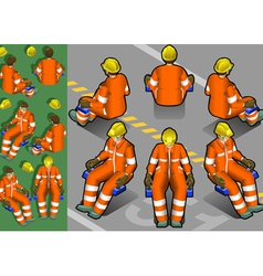 isometric shunter at work in six position vector image