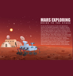 mars robot rover and colony vector image