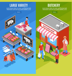 meat shop isometric banners vector image vector image
