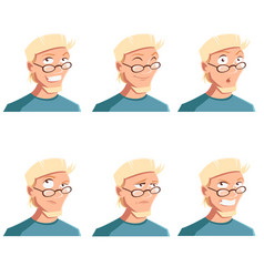 set of man face icons vector image vector image