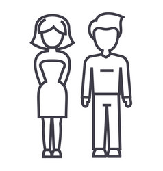 young successful couple man and woman line vector image vector image