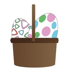 easter egg in basket icon vector image vector image