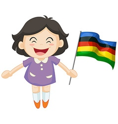 Girl carrying flag for sport event vector image vector image