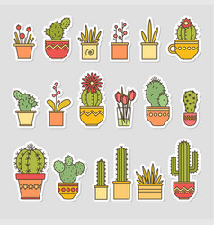 linear design cacti and flowers in pots vector image vector image