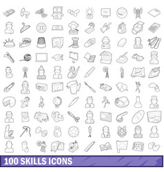 100 skills icons set outline style vector